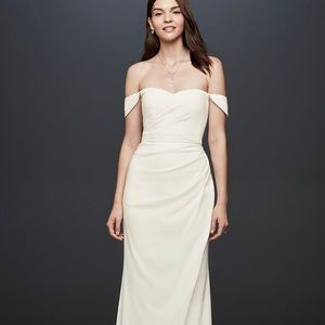 Draped off the shoulder crepe sheath gown